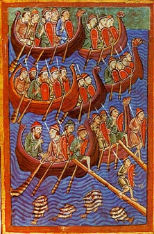 The Vikings in their longboats: an ancient seafaring people with a strong warrior ethic.