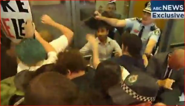 student radicals being pepper sprayed - sydney - 13 February 2015