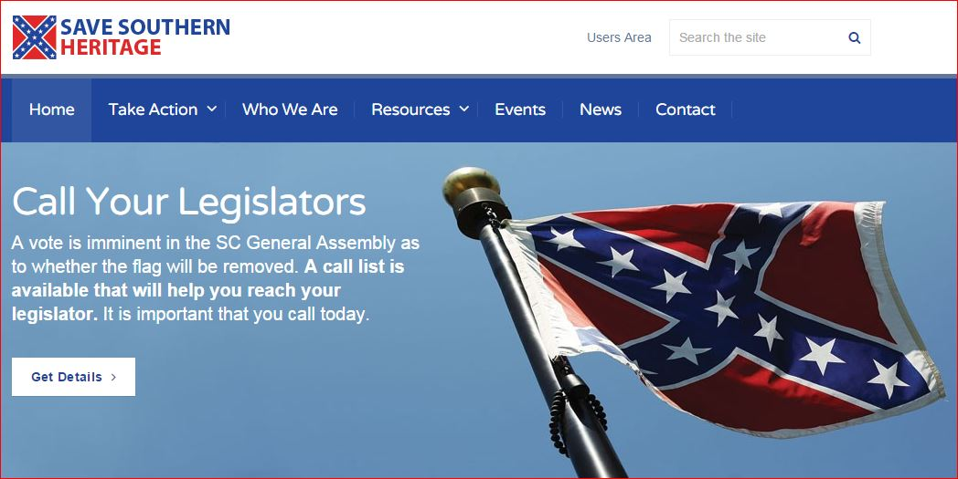 Save Southern Heritage website screenshot