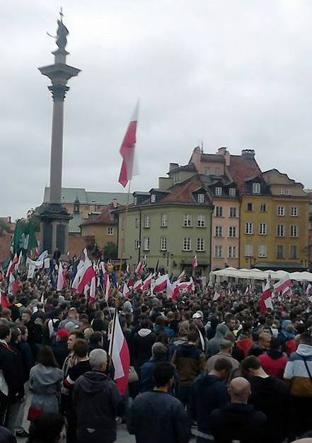 Polish anti immigration rally Warsaw Old Square 12 September 2015