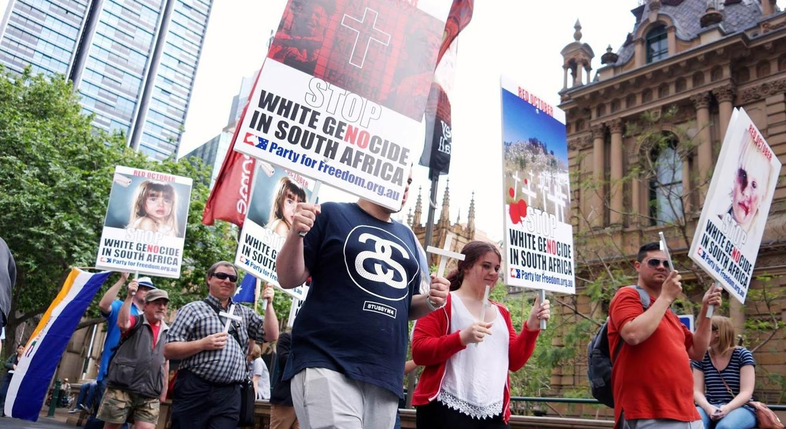 Stop White Genocide Rally at Sydney Town Hall 11 October 2015