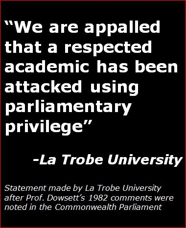 La Trobe University Statement of Support to Gary Dowsett
