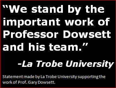 La Trobe University Statement Supporting Gary Dowsett