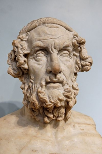 Marble bust of Homer.